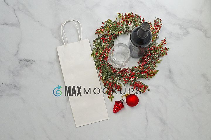 Wine bag Mockup, Christmas red wine, styled photo display