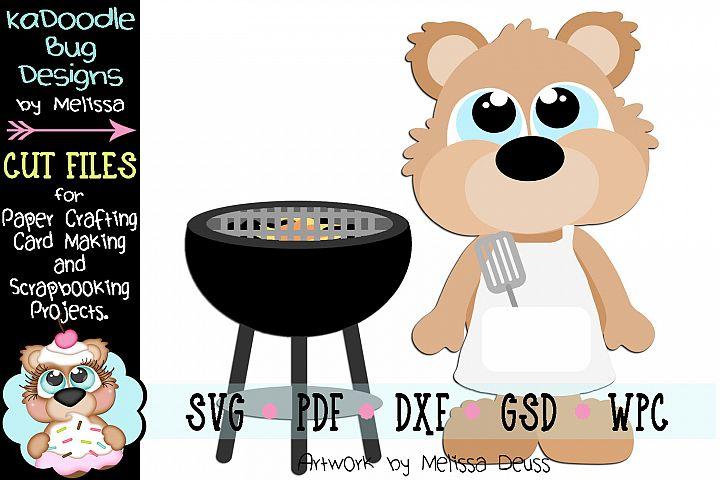 Grilling Bear Cut File - SVG PDF DXF GSD WPC