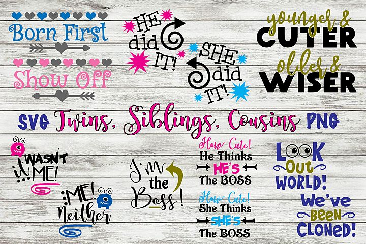 Twin SVG Bundle Funny Twin Quotes Siblings Cousins Cut File