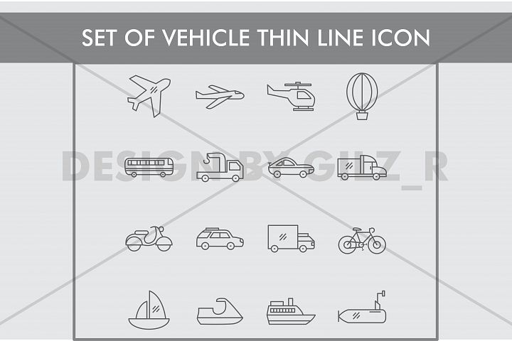 Set of Vehicle Thin Line Icons