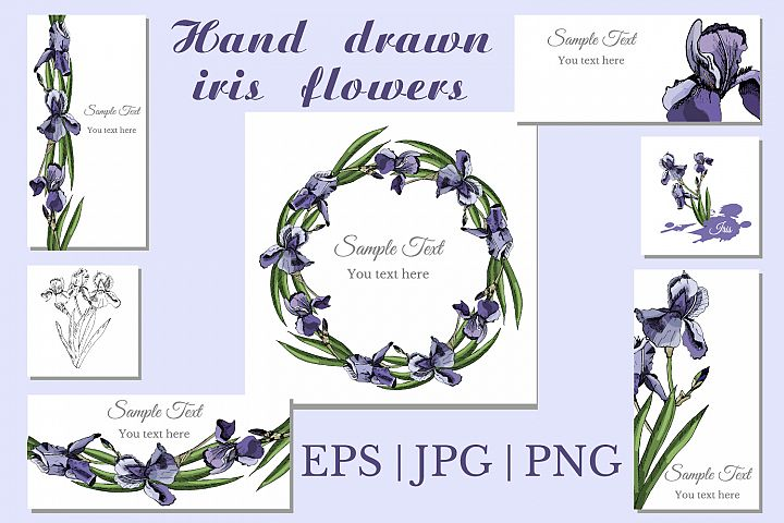 Collection with sketches of iris flowers and seamless patterns.