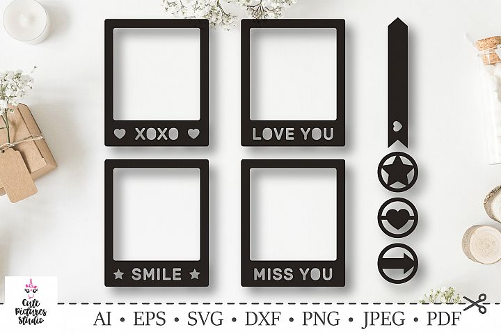 Polaroid frames. Love, heart and stars. SVG DXF cut file.