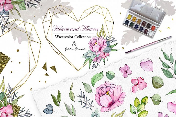 Hearts and Flowers Watercolor Collection
