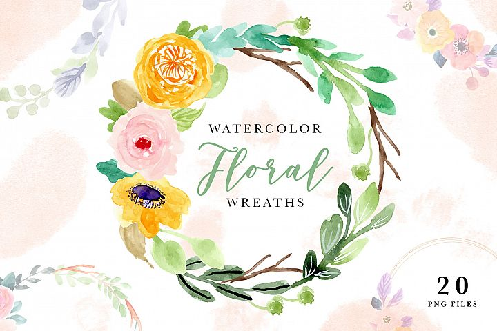 Watercolor Floral Wreaths II
