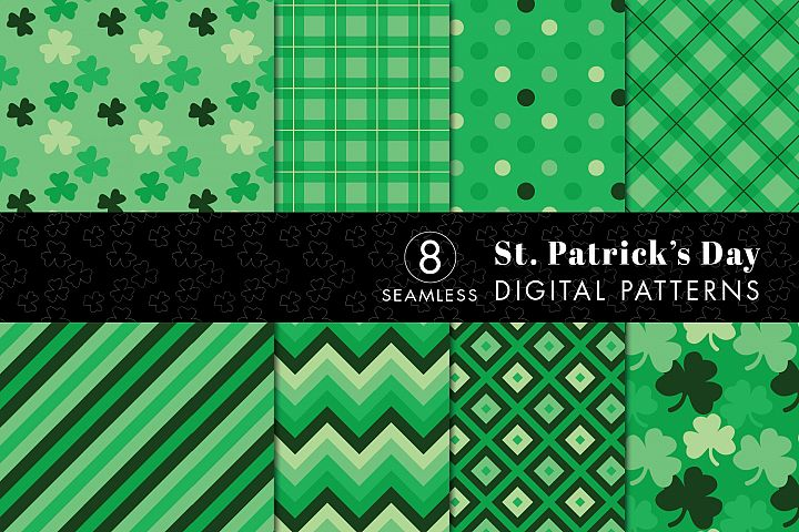 8 Seamless St. Patricks Day Patterns Set 2