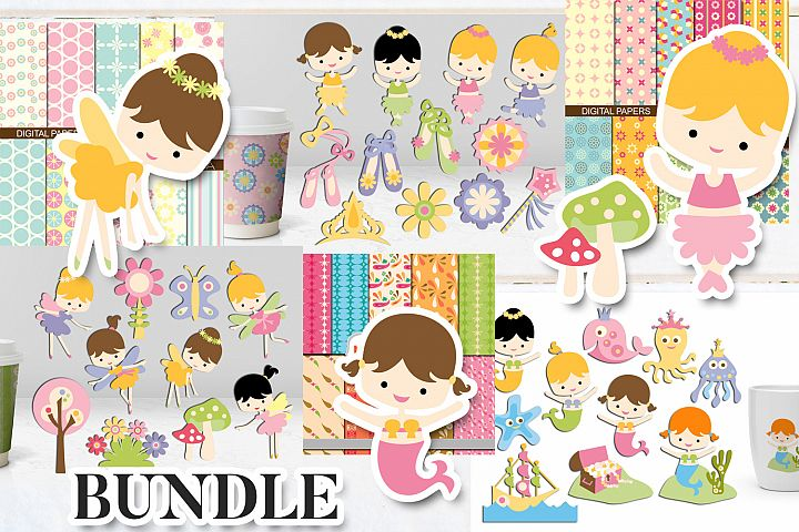 Girls clip art bundle - Ballerina, Fairy, Mermaid