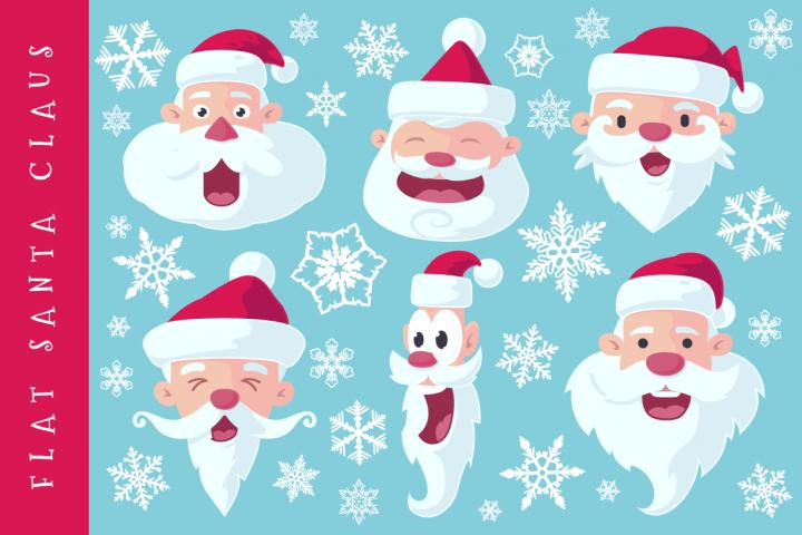 Flat Santa Claus Heads - Vector
