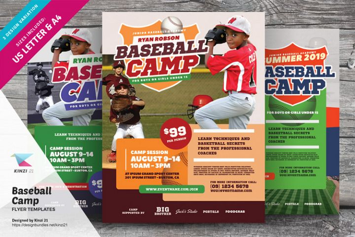 Baseball Camp Flyer Templates
