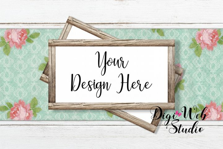 Flat Lay Wood Signs Mockup - Wood Frames on Table Runner