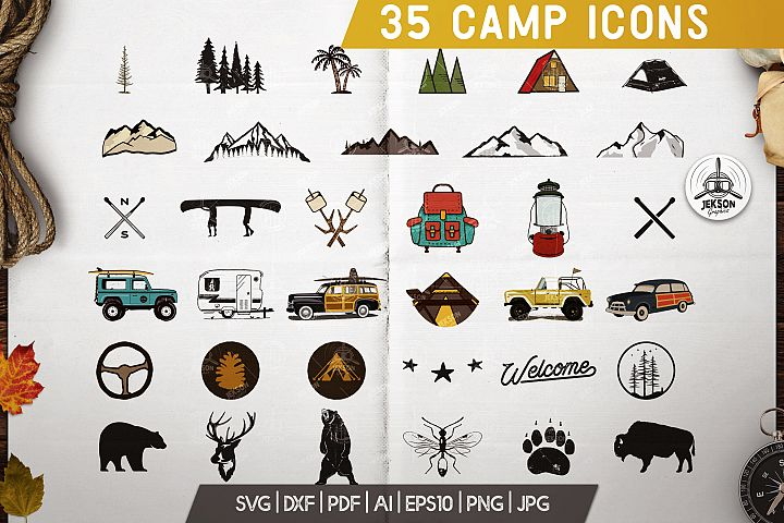 35 Camping SVG Bundle, Camp SVG Bundle, Camper Svg Pack Set
