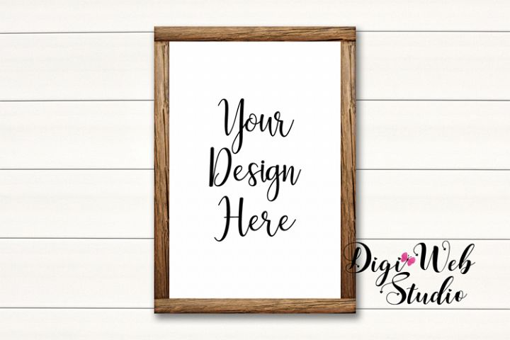 Wood Sign Mockup - Wood Frame on White Shiplap