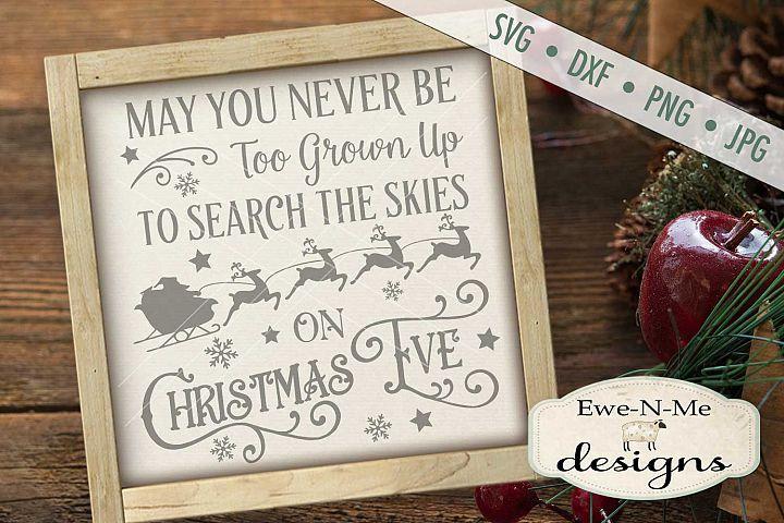 Search Skies Christmas Eve Santa Sleigh SVG DXF Files