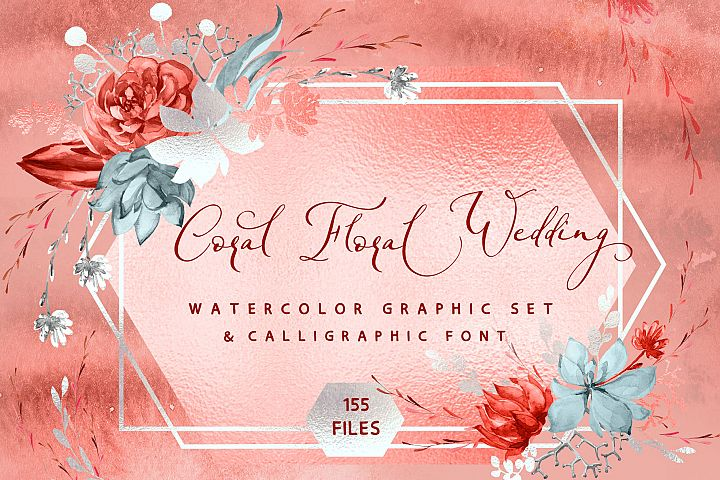 Coral Floral Wedding graphic & font