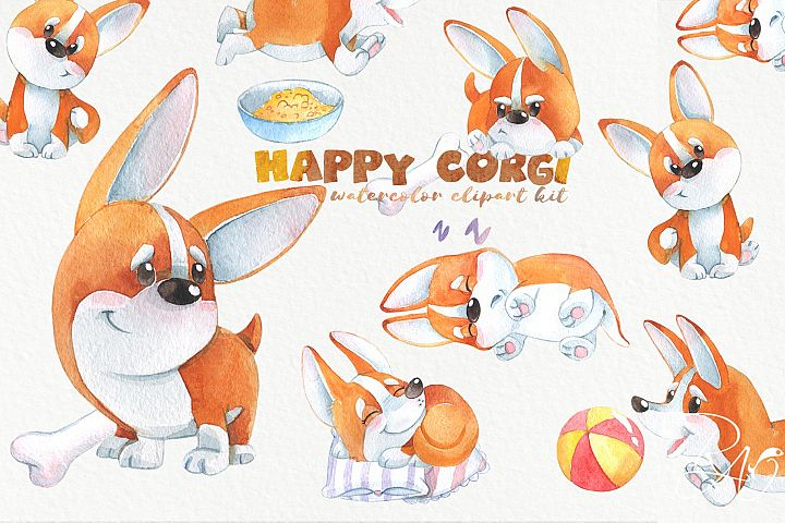Cute watercolor corgi puppy clipart Funny dog clip art
