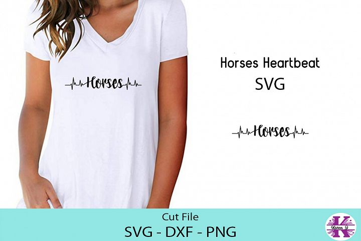 Horse and Heartbeat - SVG DXF PNG - Cut File