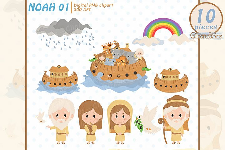 Cute NOAHs ark clipart, Bible theme - INSTANT download