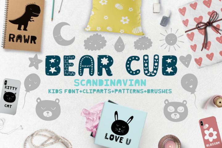 Bear cub Scandinavian kids font, brushes, patterns and MORE!