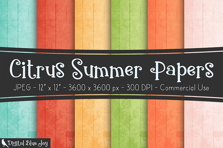 Digital Paper Textured Backgrounds - Summer Citrus