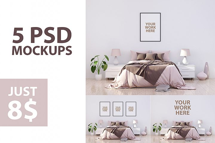 5 Bedroom wall frame mockups