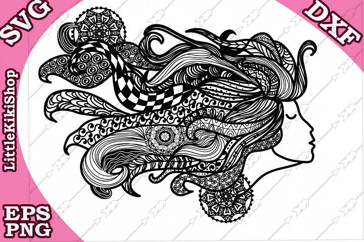 Zentangle Girl Svg,Mandala Girl Svg, Fair Girl cut file
