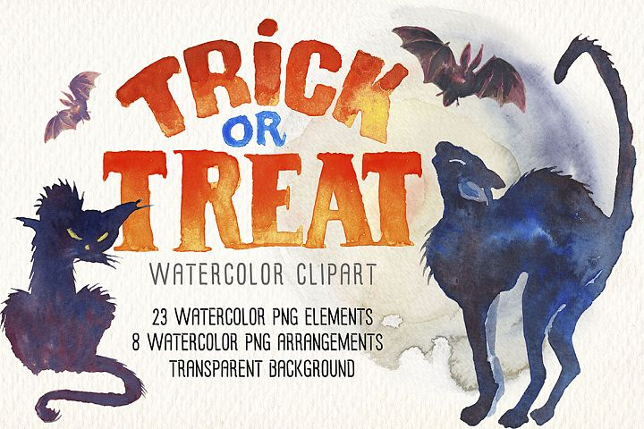 Happy Halloween watercolor clip art. Predesigned images.