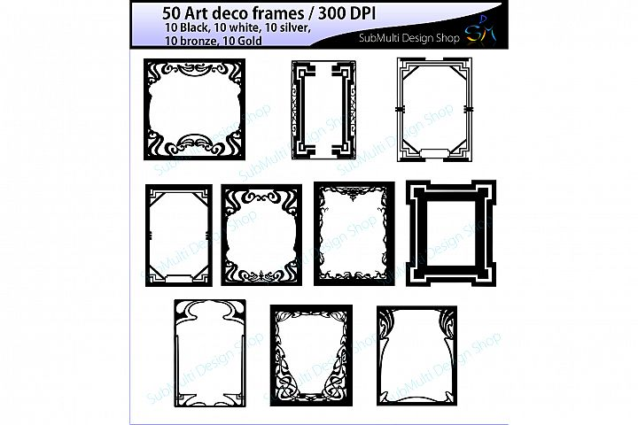 art deco frames / art deco frames clipart / art deco frames silhouette / art deco gold frames / art deco silver frame / High Quality