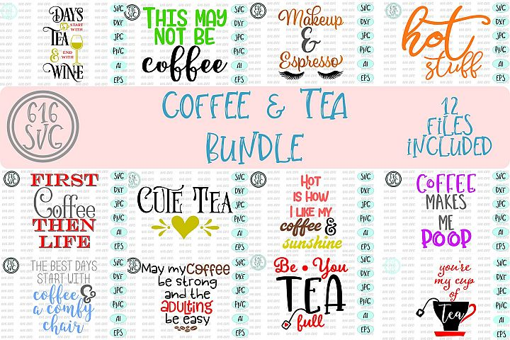 Coffee and Tea Bundle SVG, DXF, Ai, PNG