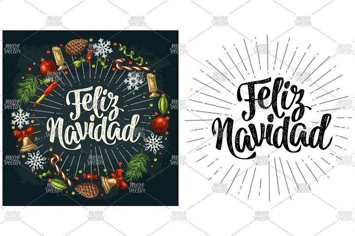 Feliz Navidad. Circle shape set Merry Christmas engraving