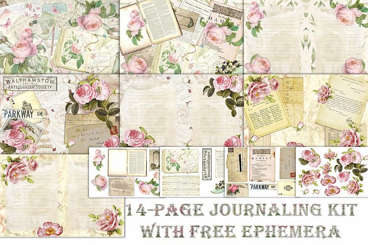 Journaling backgrounds with FREE ephemera PNG and JPEG CU