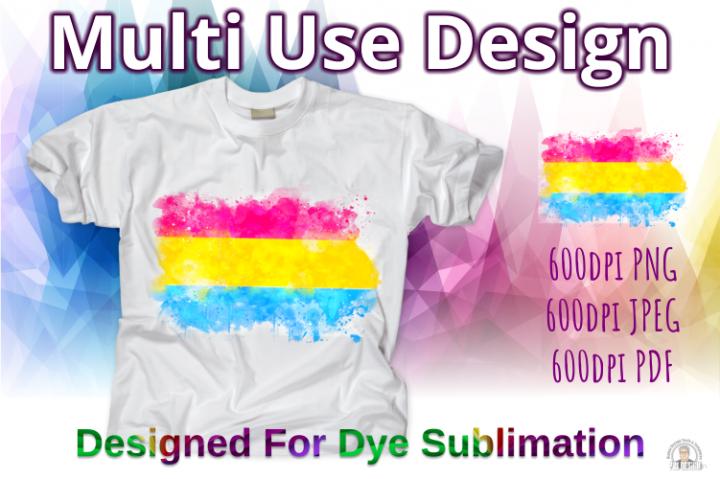 Pansexual Pride Flag Ink Splash Sublimation Design