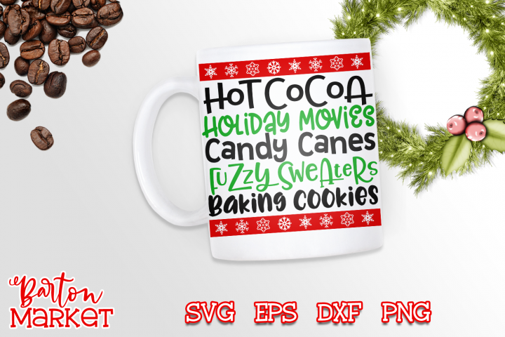 Hot Cocoa Holiday Movies Candy Canes SVG DXF EPS PNG