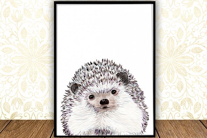 Watercolor Hedgehog digital print Woodland Nursery Art