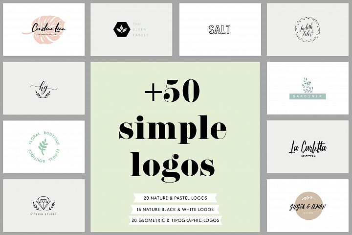 50 Simple Logos & 3 business cards