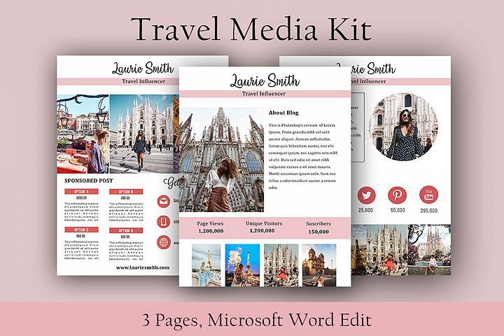 Influencer Media Kit, Travel Media Kit, Microsoft Word Edit