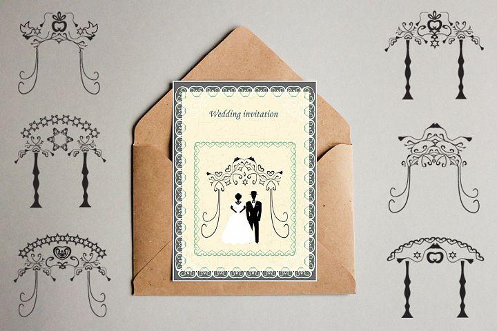 Wedding vintage arch set. The Jewish Hupa. Bride and groom