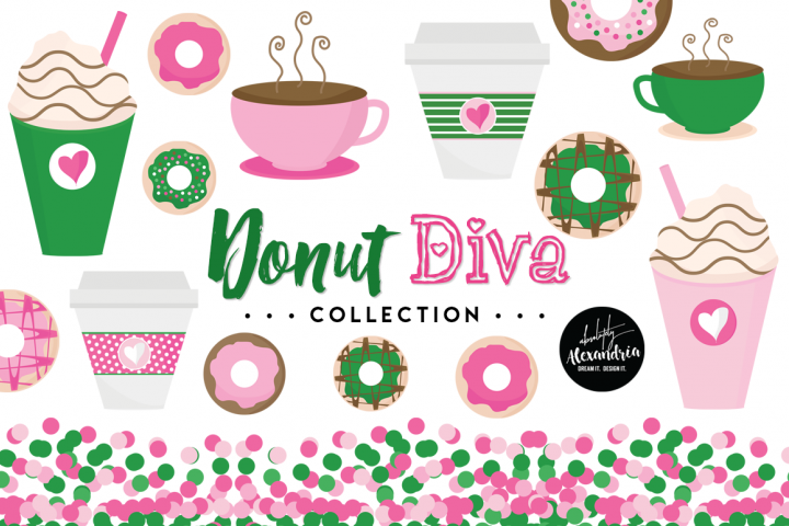 Donut Diva Clipart Graphics & Digital Paper Patterns Bundle