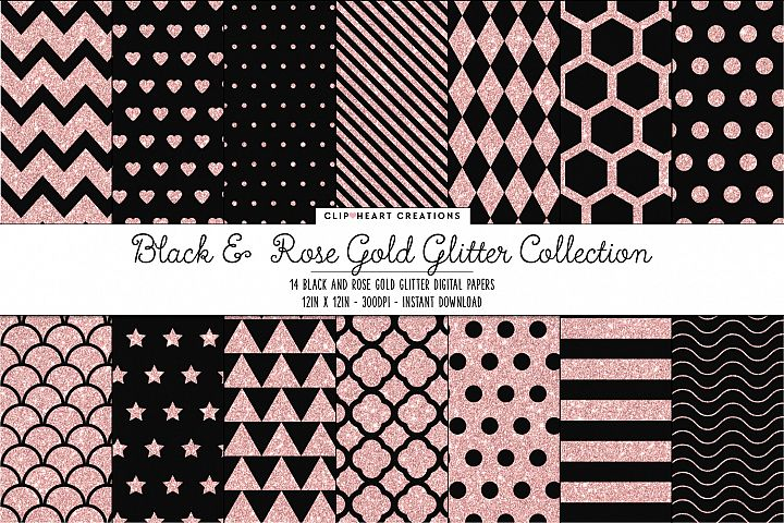 Black and Rose Gold Glitter Pattern Papers