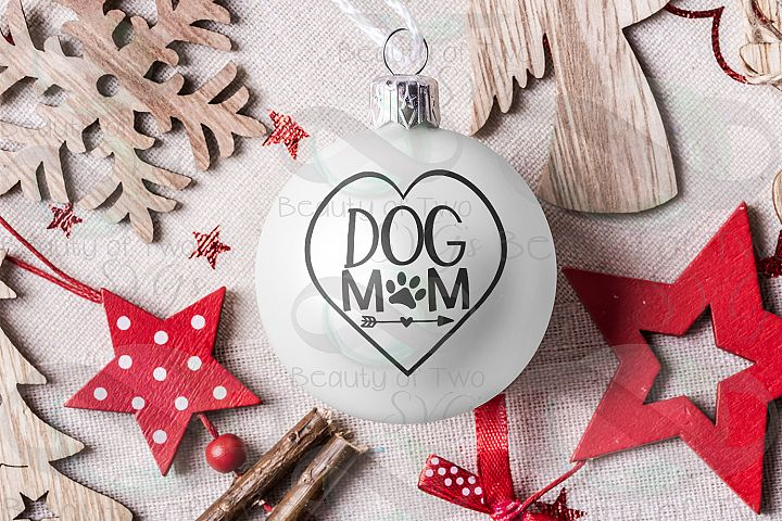 Dog Mom Christmas Ornament svg, Christmas dog love svg
