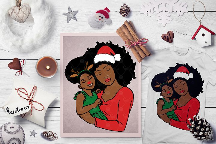 Mommy and me, Mother and daughter, Christmas SVG Cut File