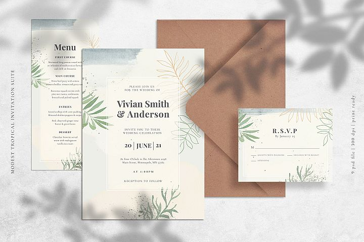 Modest Tropical Invitation Suite