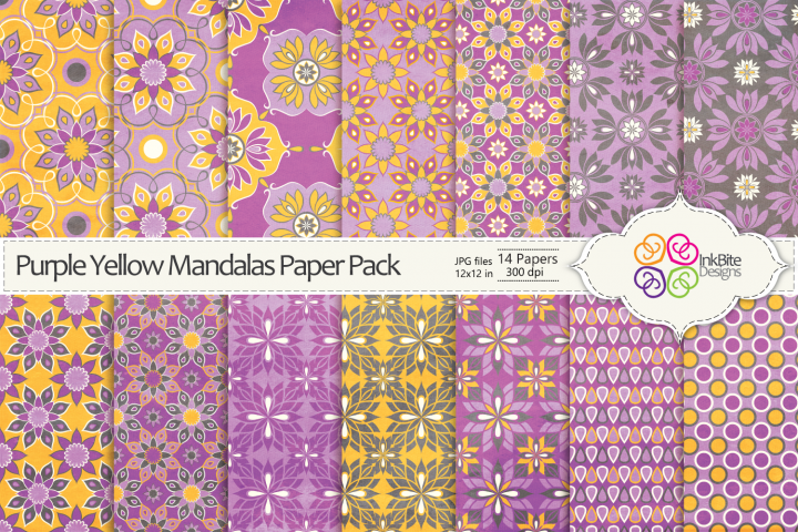 Purple Yellow Mandalas Paper Pack