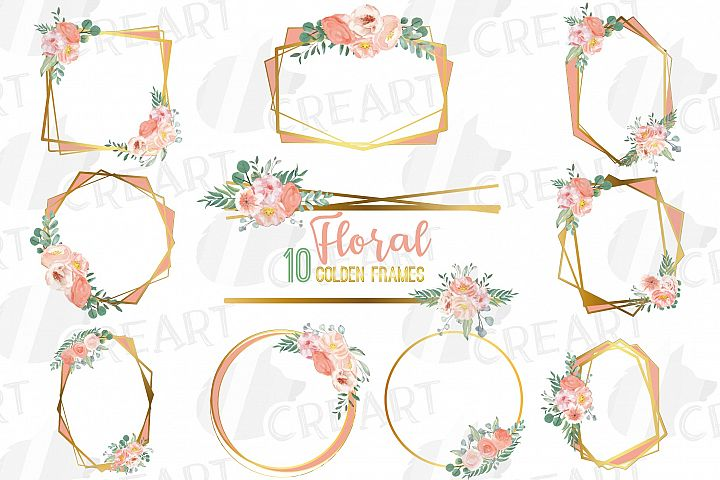 Blush and gold watercolor floral wedding frames and borders