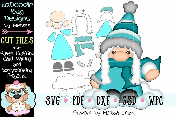 Snowball Fight Gnome Cut File - SVG PDF DXF GSD WPC