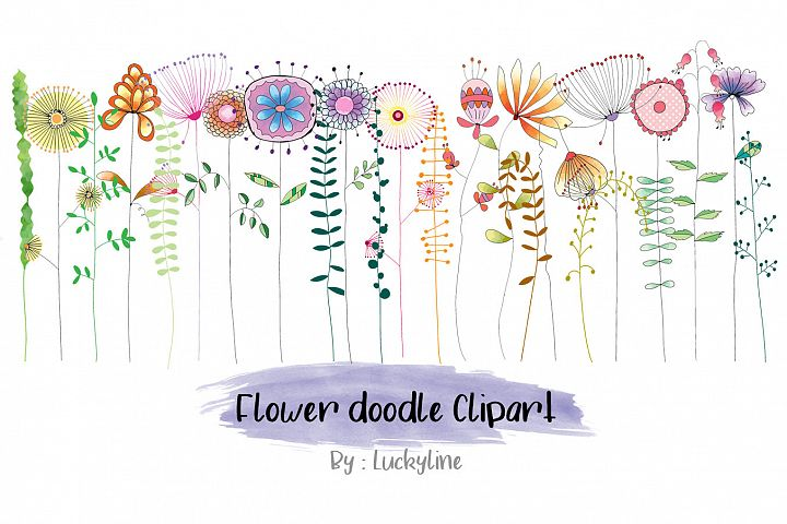 Flower doodle clipart instant download, PNG file - 300 dpi