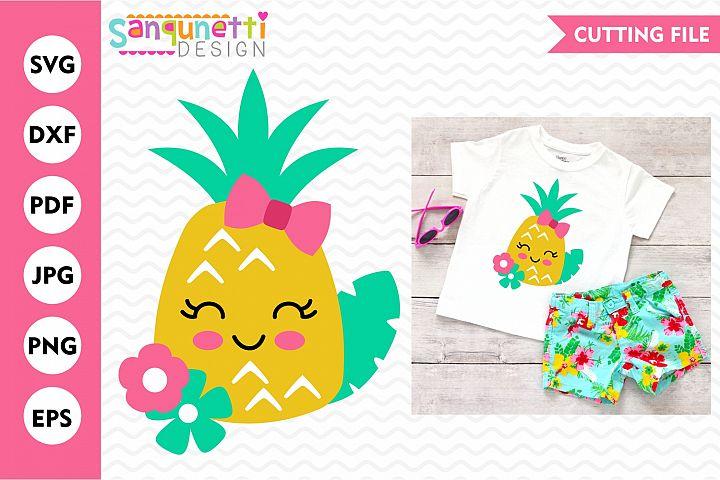 Pineapple SVG, Summer tropical digital art cut file