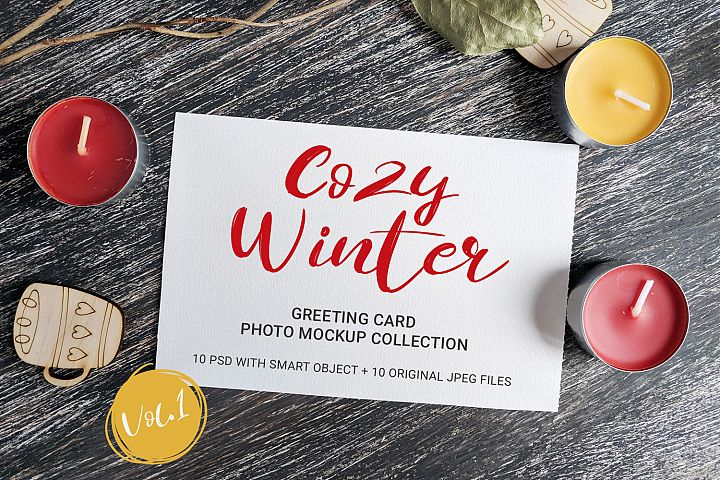 Cozy Winter - greeting card photo mockups - vol.1