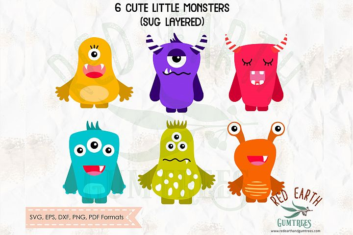 Kids cute little monsters, monster faces SVG,PNG,DXF,EPS,PDF