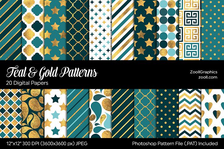 Teal And Gold Digital Papers