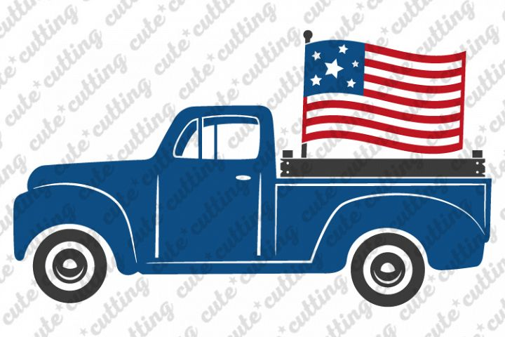 4th of july svg, 4th of july truck svg, truck with flag svg