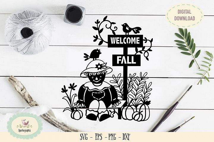 Welcome fall sign paper cut SVG PNG